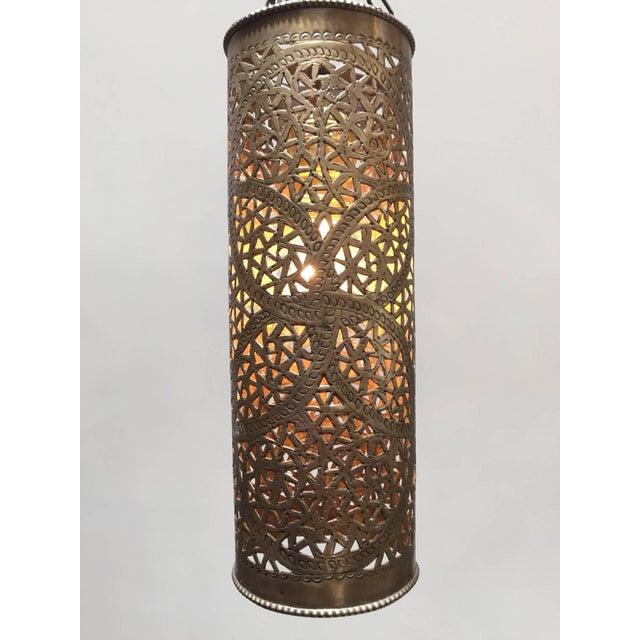 Islamic Pair of Moroccan Brass Pendants Lights with Moorish Filigree Designs For Sale - Image 3 of 13