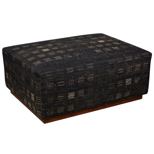 Handwoven Indian Fabric Upholstered Ottoman For Sale