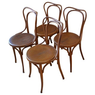 Dining Chairs Bentwood J & J Kohn Bistro, Austria Early 1900s, Set of 4 (16 Chairs Available) For Sale