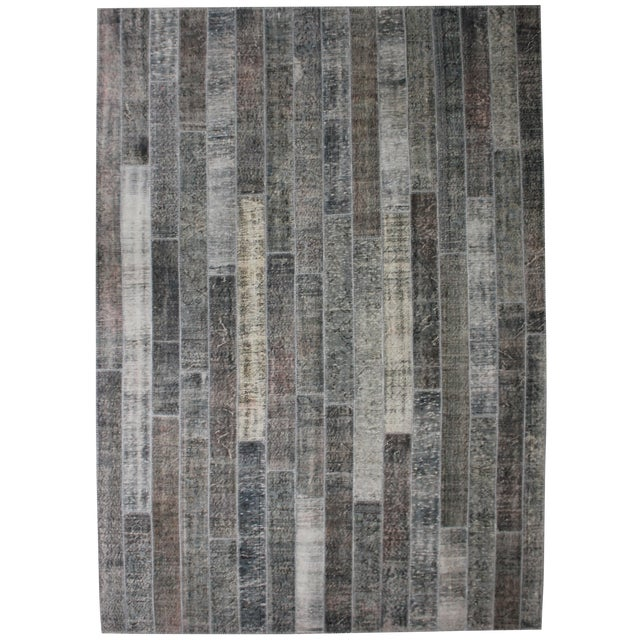 "Hand Knotted Patchwork Rug by Aara Rugs Inc. - 11'9"" X 8'4"" - Image 1 of 2"