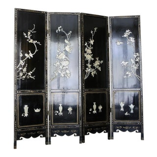 1950s Chinese Lacquer Screen For Sale