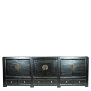 1940s Asian Antique Black Lacquer Sideboard For Sale