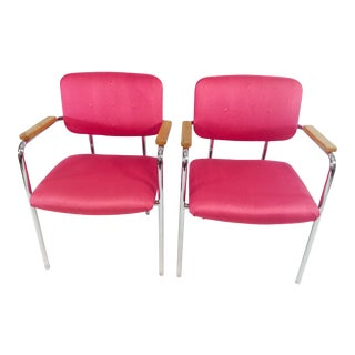 Midcentury Mod Boho Chic Pink Office Chairs - a Pair