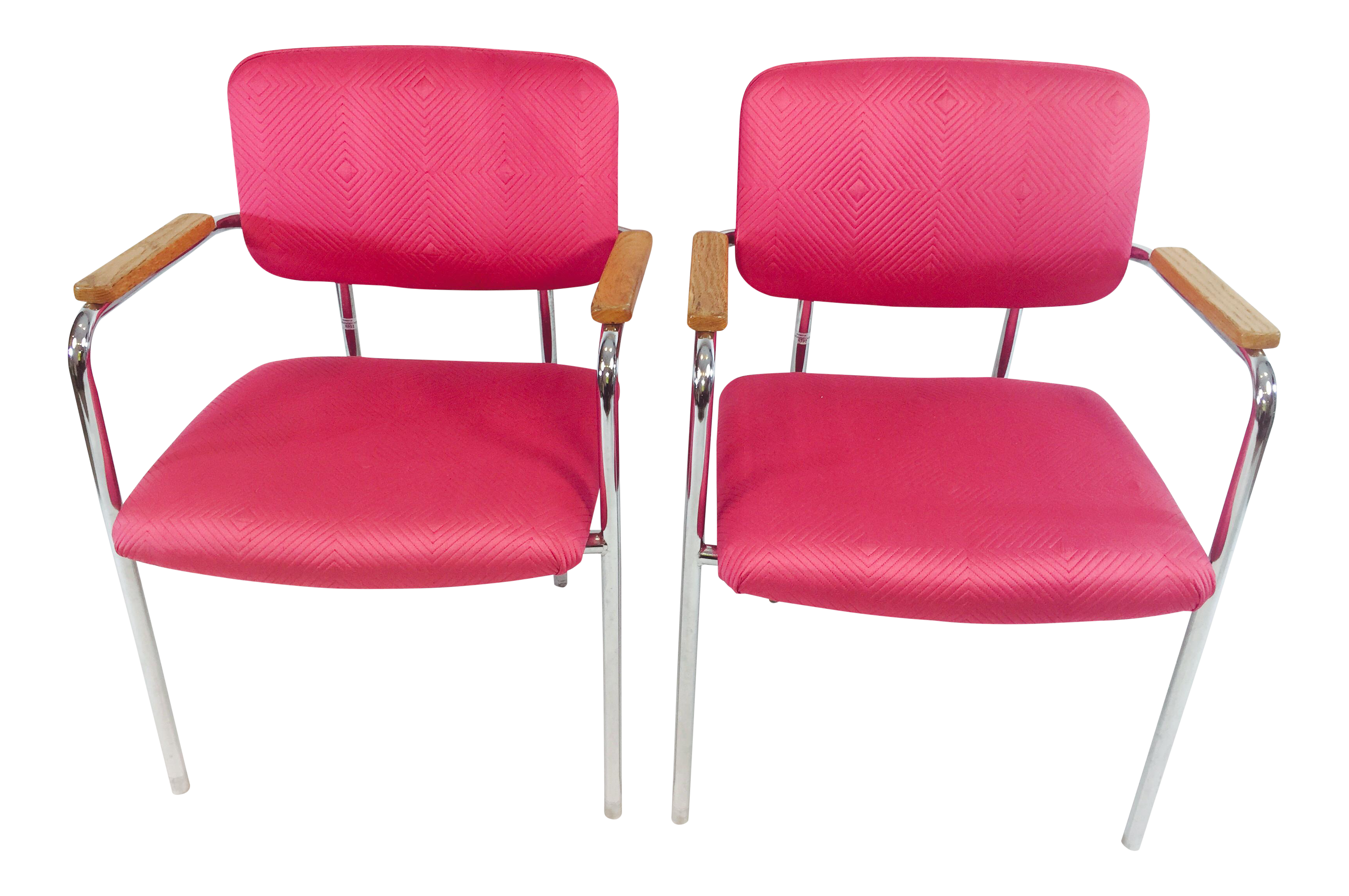 Midcentury Mod Boho Chic Pink Office Chairs   A Pair   Image 1 Of 5