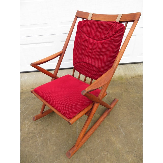 Boho Chic Mid Century Modern Teak Rocker Lounge Chair For Sale - Image 3 of 13