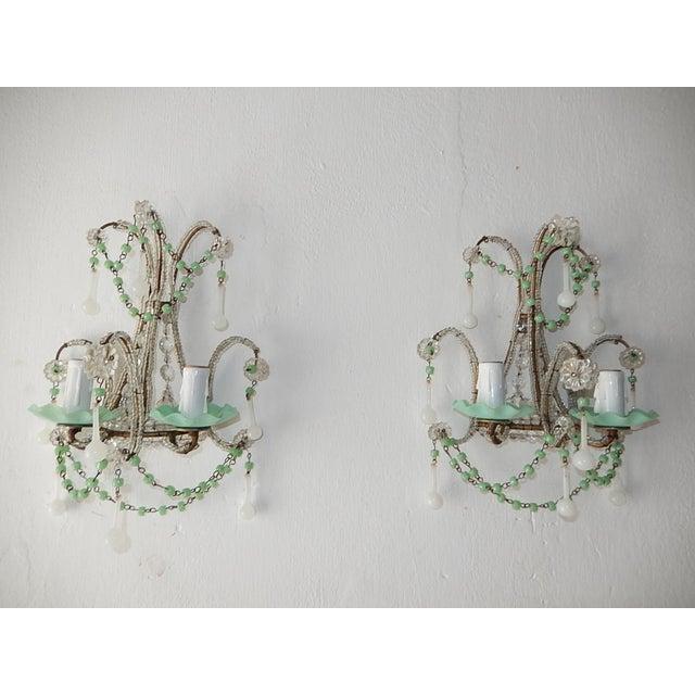 French Rare Sea Foam Green Opaline Sconces, circa 1920 For Sale - Image 12 of 12