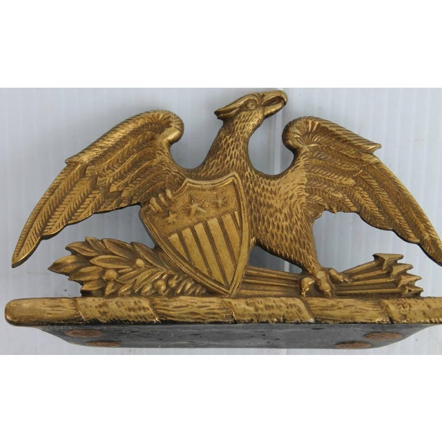 Brass Patriotic Eagle Bookends For Sale - Image 4 of 9