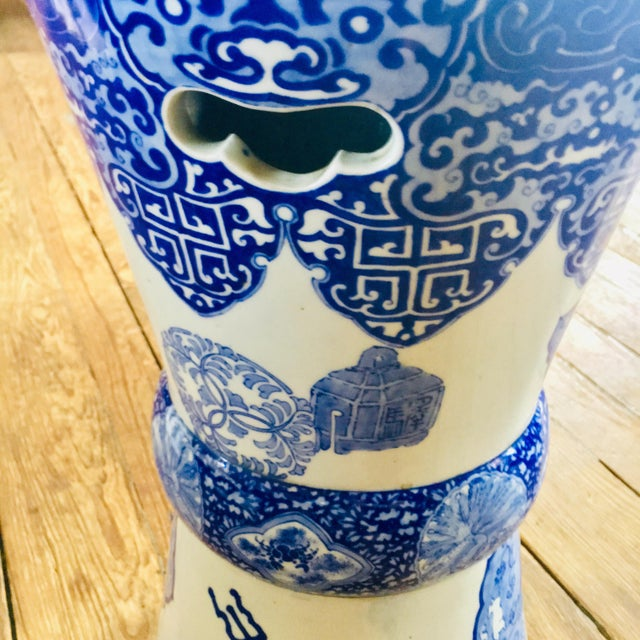 19th Century Antique Glazed Terracotta Japanese Blue & White Stand For Sale - Image 4 of 11
