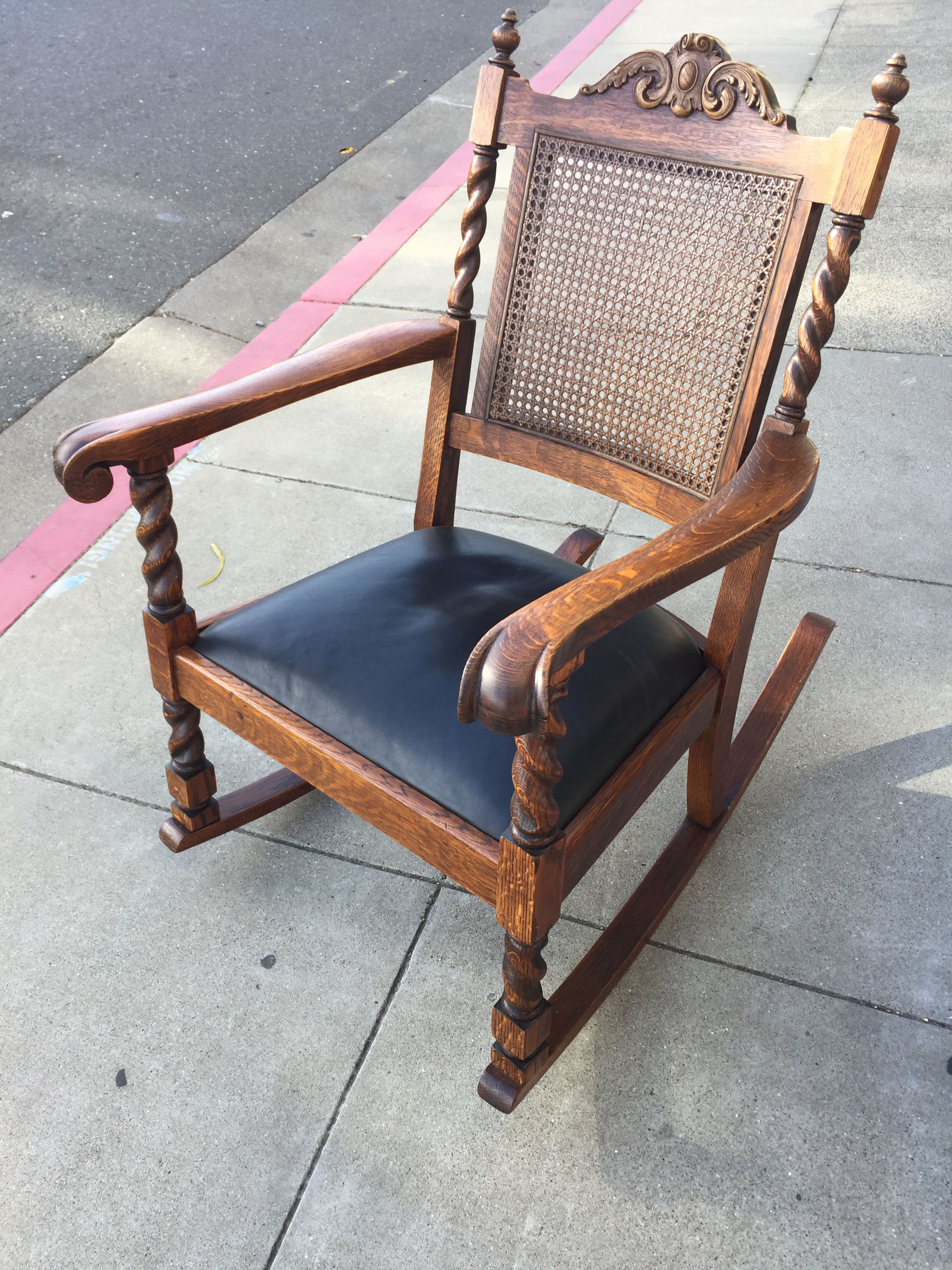 Genial Animal Skin Antique Leather Cane Rocking Chair For Sale   Image 7 Of 7