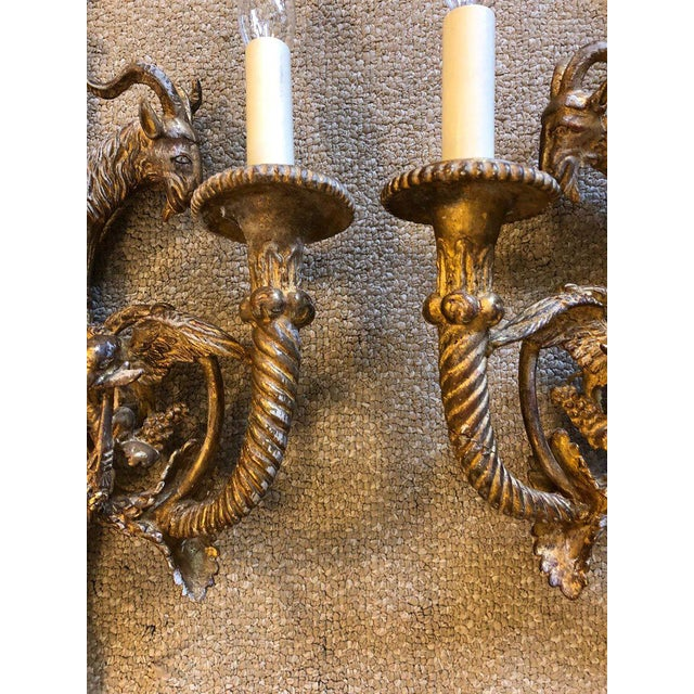 1940s Neoclassical Ornate Giltwood Sconces - a Pair For Sale - Image 4 of 12