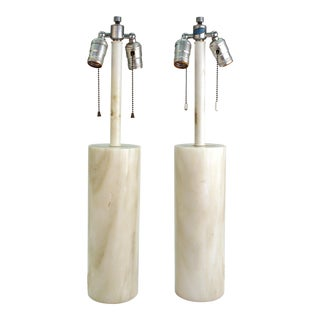 Mid-Century Modern Nessen Table Lamps in White Marble-A Pair For Sale