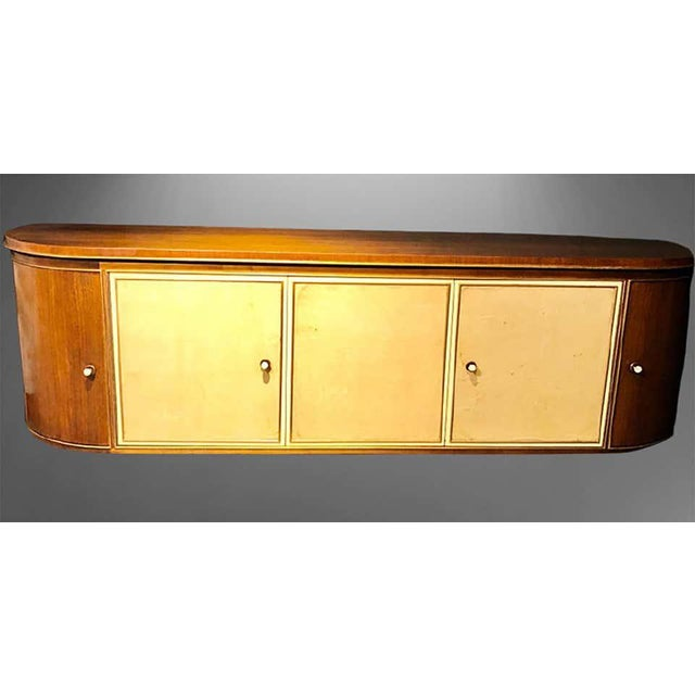 French Art Deco Sideboard or Credenza With Parchment Front, Monumental For Sale - Image 11 of 13