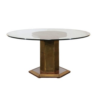 Vintage Mid Century American Brass & Burled Wood Pedestal Table W/ Glass Top For Sale