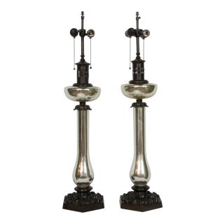 1940s Mercury Glass Banquet Lamps - a Pair For Sale