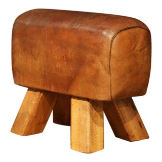 Early 20th Century Czech Patinated Brown Leather Pommel Horse Bench Stool For Sale