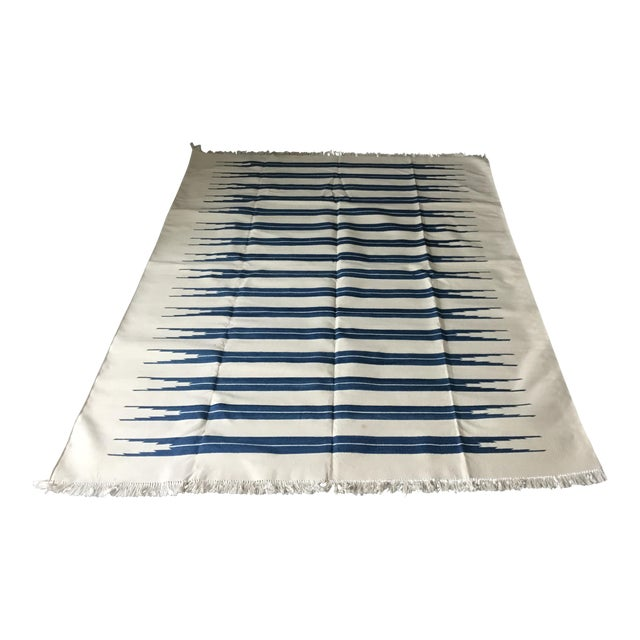 "Dhurrie Rug Custom Handmade in India - 72"" x 99"" - Image 1 of 10"