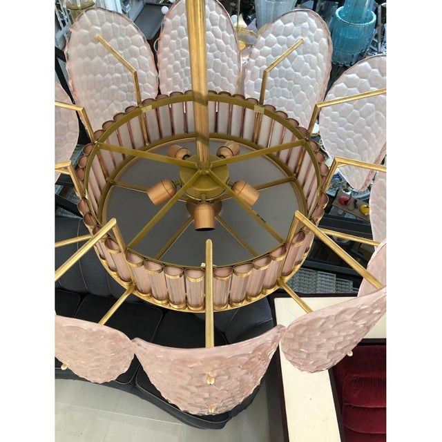Not Yet Made - Made To Order Bespoke Italian Crystal Rose Pink Murano Glass Brass Chandelier / Flushmount For Sale - Image 5 of 8