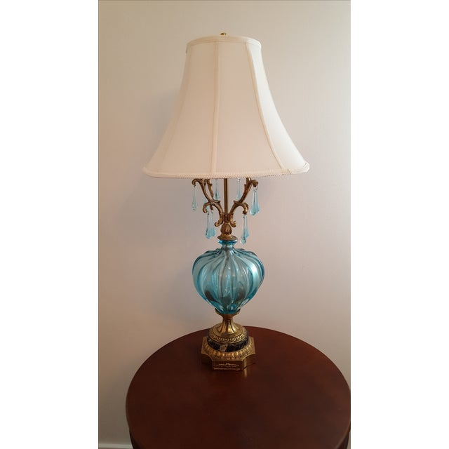 Hollywood Regency Turquoise Murano Lamp - Image 2 of 5