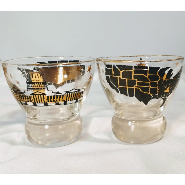 American Vintage Barware Capital Map Lowball Glasses - Set of 4 For Sale - Image 3 of 8