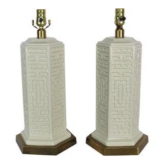 Vintage Mid-Century Italian Blanc De Chine Hexagonal Lamps - A Pair For Sale