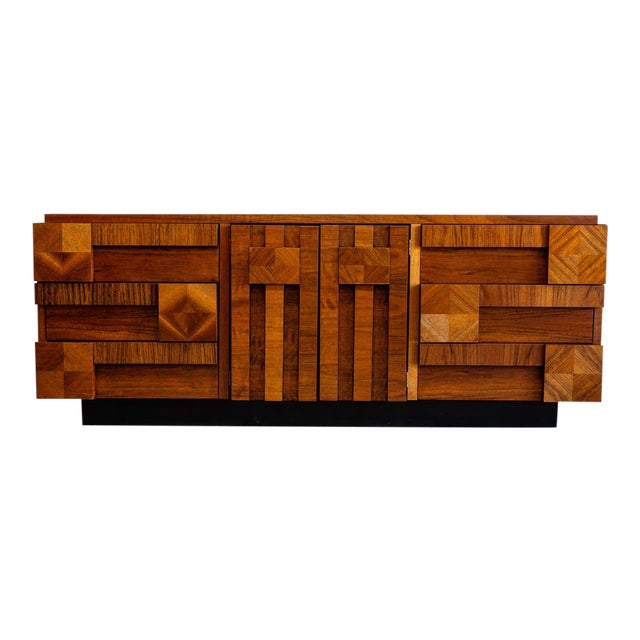 Mid Century Modern Lane Mosaic Brutalist Dresser For Sale