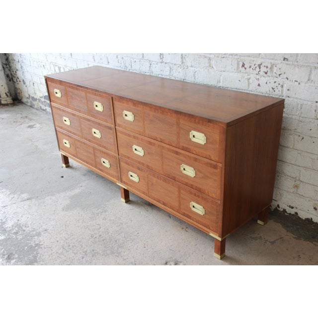 Campaign Baker Furniture Milling Road Campaign Style Long Dresser or Credenza For Sale - Image 3 of 13