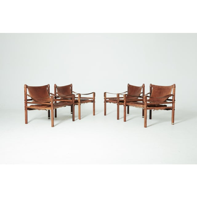 Rare Set of Four Arne Norell Safari Sirocco Chairs, Sweden, 1960s For Sale - Image 13 of 13