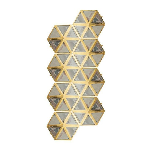 Josef Hoffmann Set of 12 Brass and Glass Pyramid Flush Mounts Wall Lamp, 1900 For Sale - Image 6 of 7
