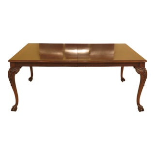 1980s Chippendale Karges Ball & Claw Walnut Dining Room Table For Sale