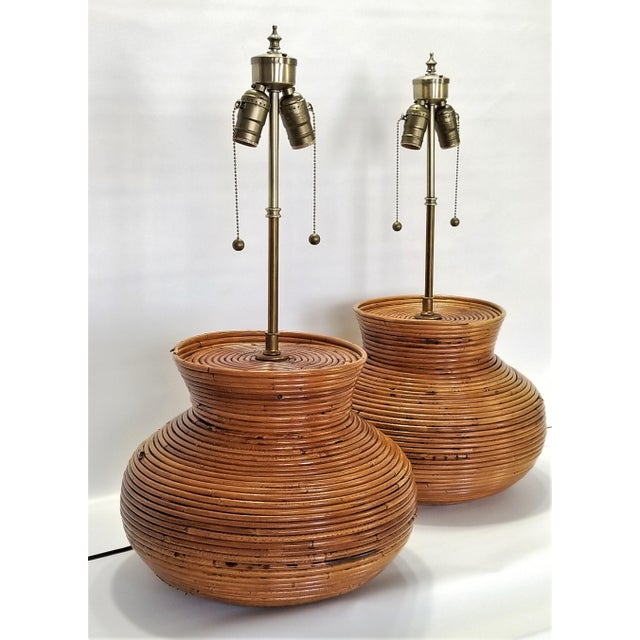 Gabriella Crespi Gabriella Crespi Style Large Pencil Reed Table Lamps - a Pair - Restored - Mid Century Modern Palm Beach Boho Chic Wicker Rattan Seagrass For Sale - Image 4 of 13