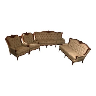 Vintage Kingsley Sofa, Love Seat & Chairs, 4 Pieces For Sale