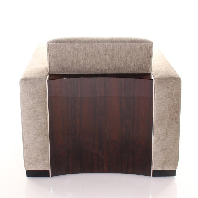 Ziricote black high gloss Stainless steel details Fabric or leather upholstery cm: W 88 D 88 H 90 inch: W 35 D 35 H 36...