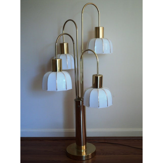 Hollywood Regency Brass & Glass Arc Table Lamp - Image 2 of 8