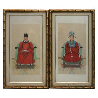 1920s Framed Chinese Ancestral Man and Woman Portrait Prints - A Pair For Sale