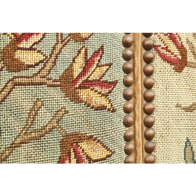 1860's English Silk Needlepoint Screen in the Manner of William Morris For Sale - Image 4 of 6