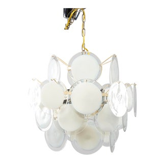 Gino Vistosi White Murano Glass Disk Chandelier