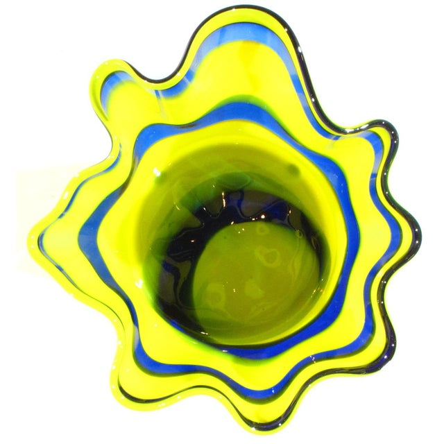 2010s Pasargad N Y Multi Colored Handkerchief Shaped Blended Glaze Bowl For Sale - Image 5 of 8