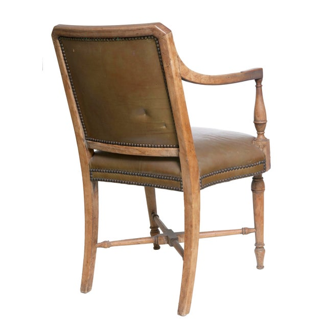 French Vintage Leather Arm Chair by Baker For Sale - Image 3 of 6
