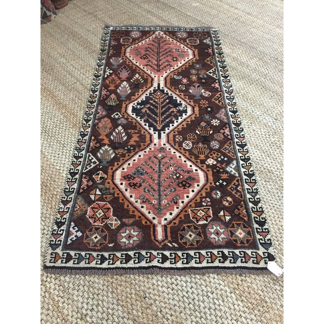 Metal 1970s Vintage Shiraz Brown and Rose Pink Rug - 3′8″ × 7′6″ For Sale - Image 7 of 9
