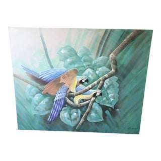 Vintage Palm Beach Regency Parrot Painting For Sale