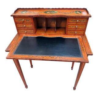 English Adams Style Carved Wood Ladies Desk