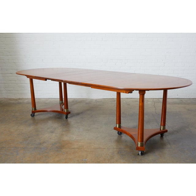 Splendid mahogany library table or dining table featuring an expanding oval top. Made in the Swedish Biedermeier taste...