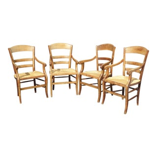 Vintage French Country Rush Seat Mahogany Dining Chairs - Set of 4 For Sale