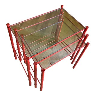Vintage Faux Bamboo Red Chrome Nesting Tables - Set of 3 For Sale