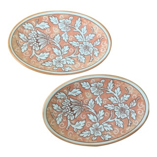 1970s Italian Hand-Painted Porcelain Dishes - a Pair