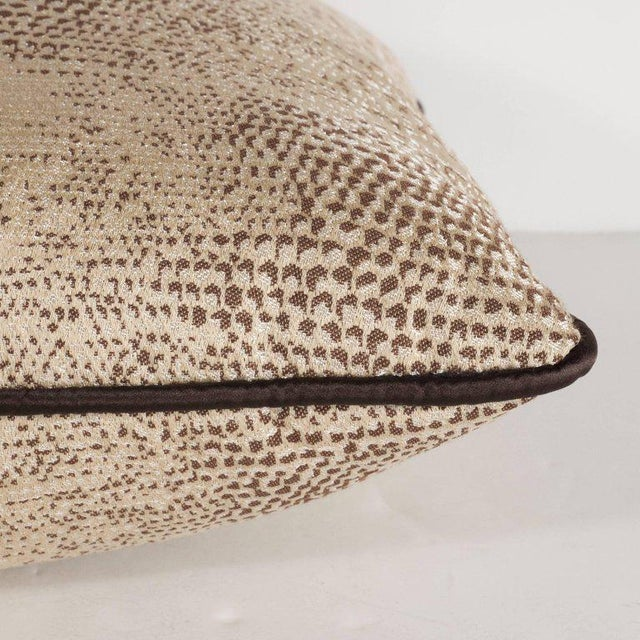Pair of Modernist Pillows with Dark Chocolate Piping and Stylized Lizard Print For Sale In New York - Image 6 of 8