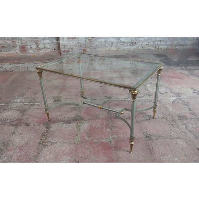 Beautiful Vintage Brass French Coffee Table W/Glass Top For Sale - Image 10 of 10