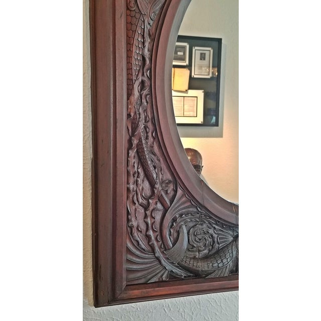 19c American Dark Walnut Wall Mirror With Mermaids - Important For Sale - Image 9 of 12