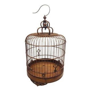 Vintage Chinese Bamboo Bird Cage For Sale