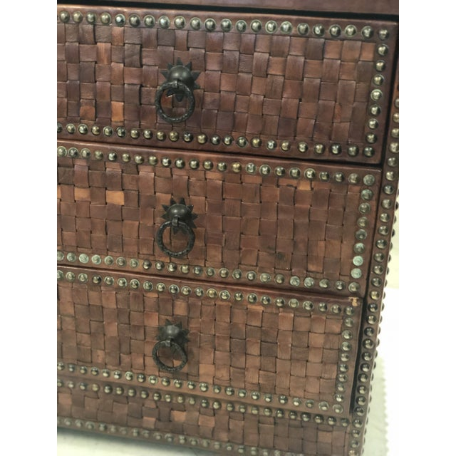 Boho Chic Boho Chic Brown Weaved Leather Chest of Drawers For Sale - Image 3 of 7